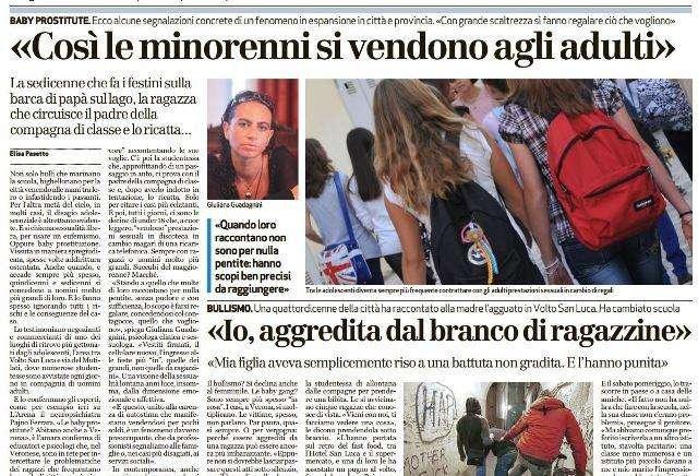 Un articolo apparso su L'Arena sul tema delle baby squillo a Verona e provincia