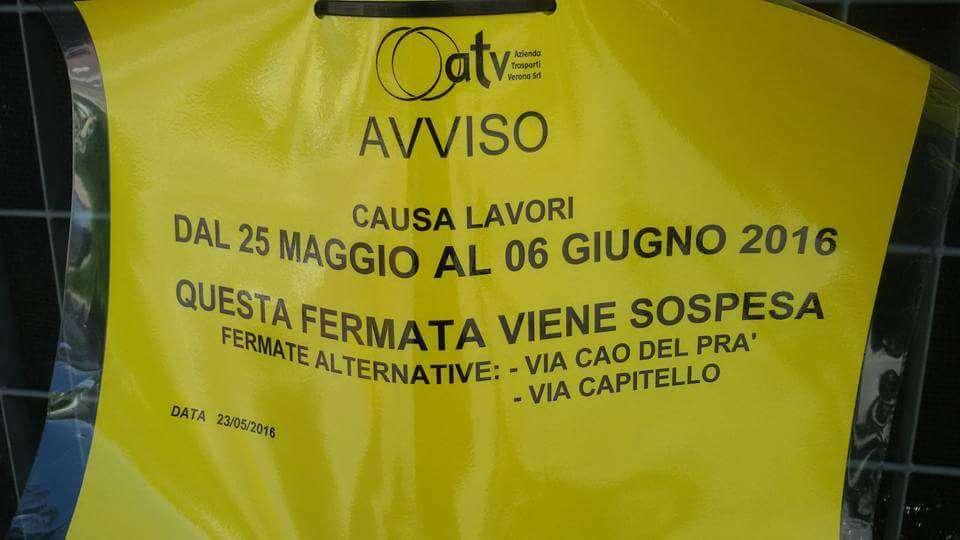 Il cartello presente sulle fermate dell'ATV di mancalacqua